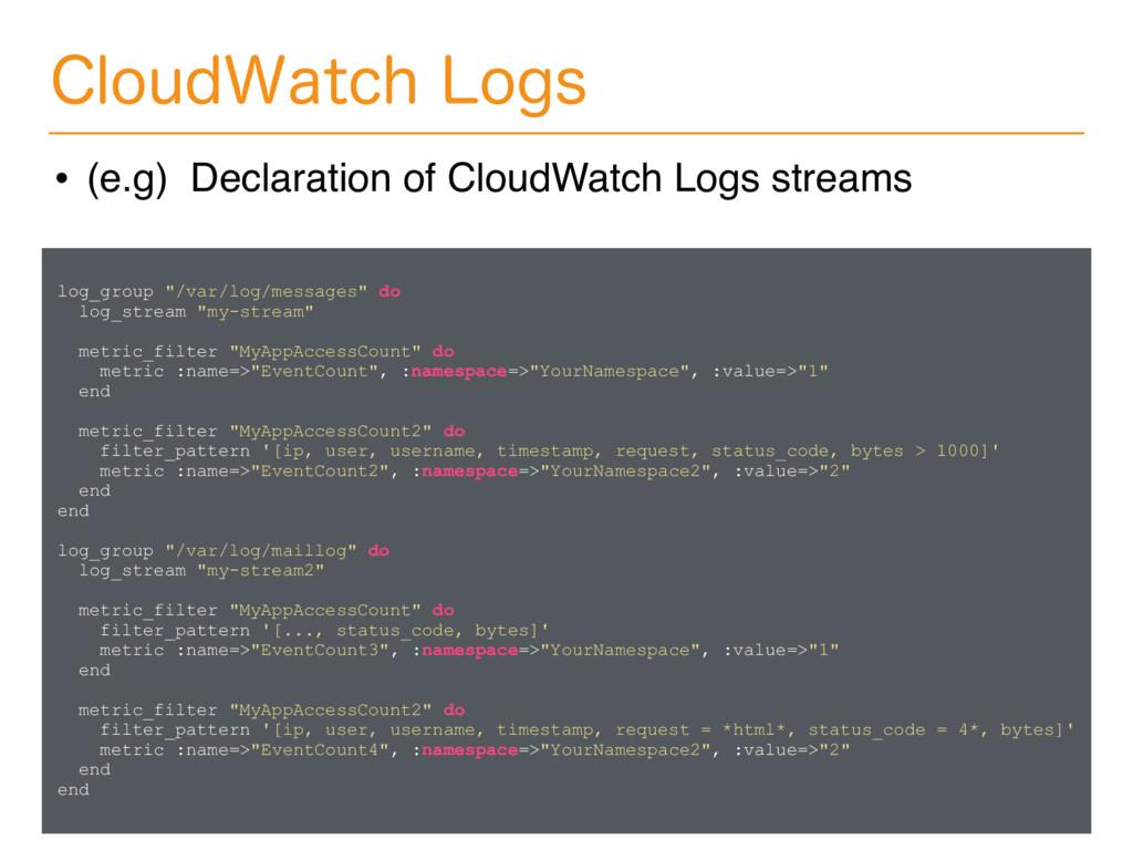 "log_group ""/var/log/messages"" do log_stream ""my..."