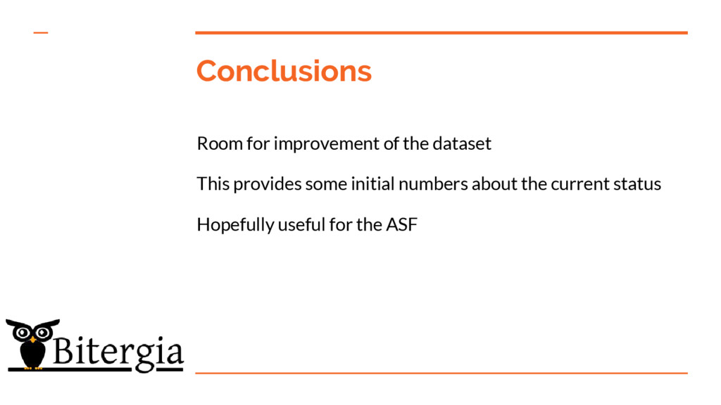 Conclusions Room for improvement of the dataset...