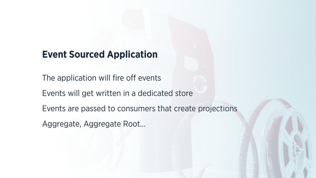 Event Sourced Application The application will ...