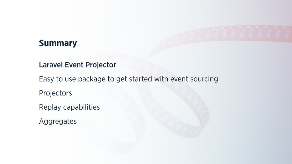 Summary Laravel Event Projector Easy to use pac...