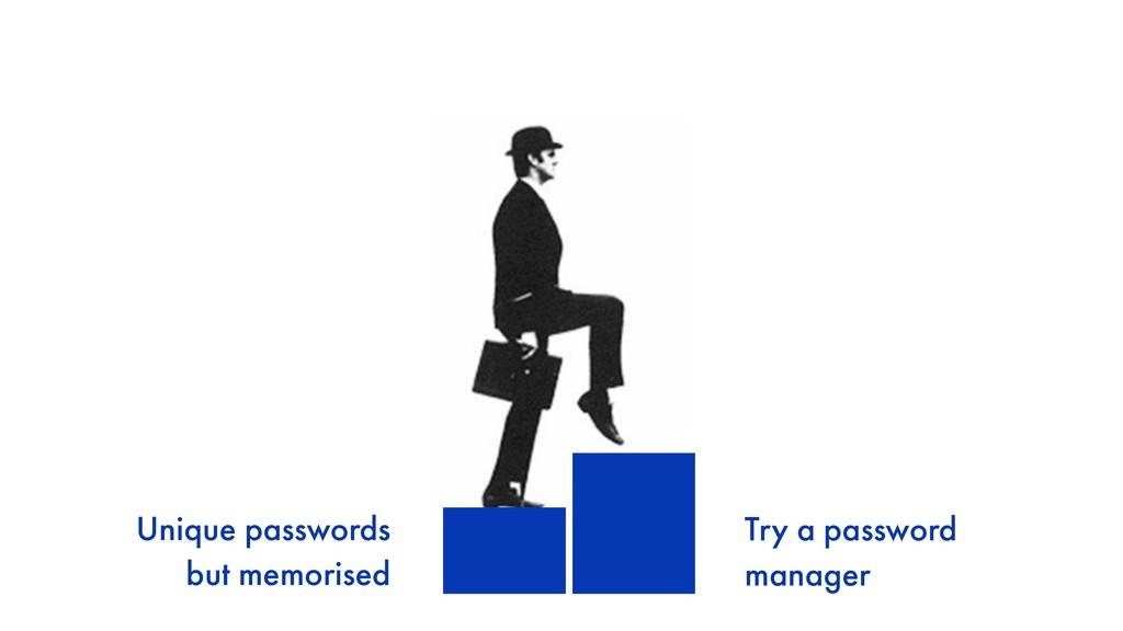 Unique passwords but memorised Try a password...