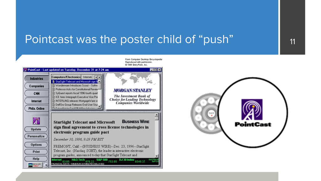 "Pointcast was the poster child of ""push"" 11"