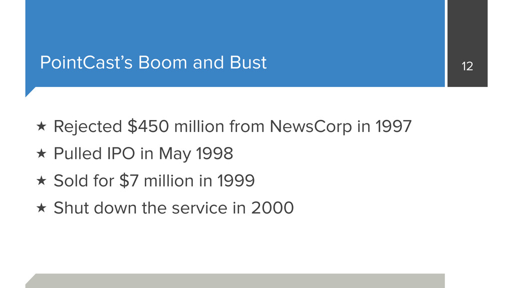 PointCast's Boom and Bust 12 ★ Rejected $450 mi...