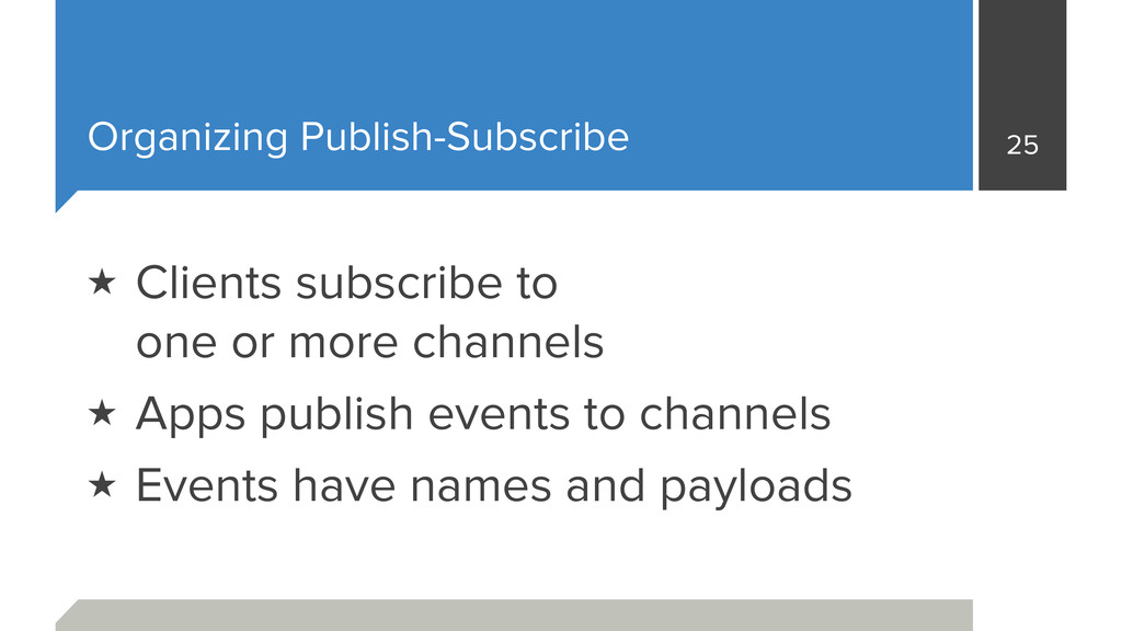 Organizing Publish-Subscribe 25 ★ Clients subsc...