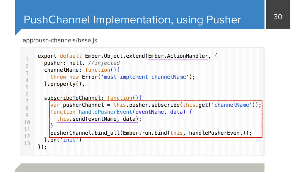 30 PushChannel Implementation, using Pusher app...