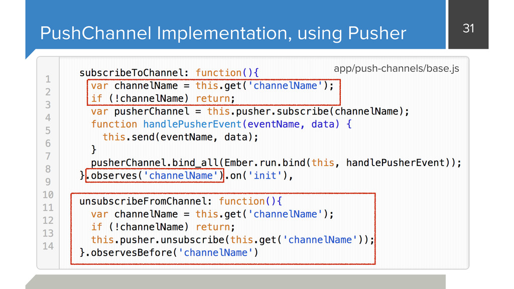 31 PushChannel Implementation, using Pusher app...