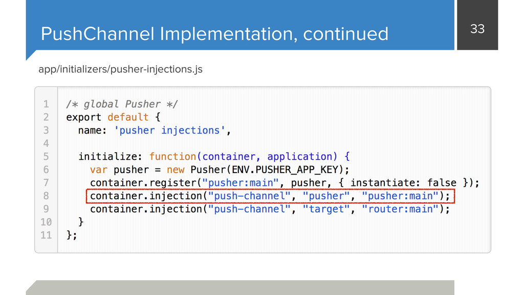 33 PushChannel Implementation, continued app/in...