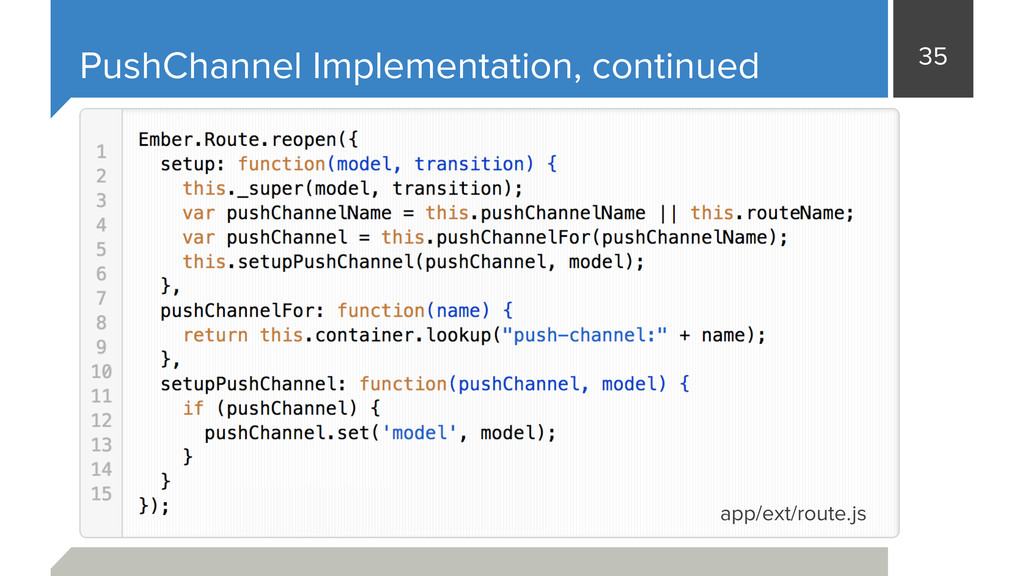 35 PushChannel Implementation, continued app/ex...