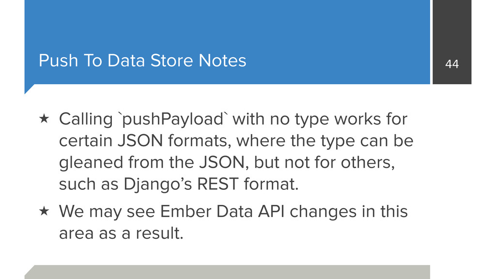 Push To Data Store Notes 44 ★ Calling `pushPayl...