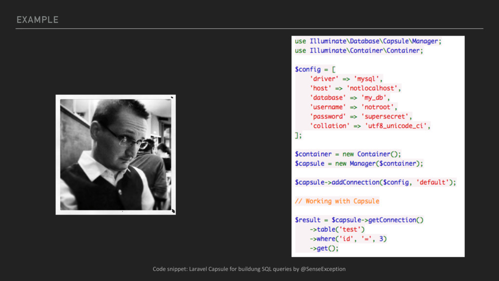EXAMPLE Code snippet: Laravel Capsule for build...