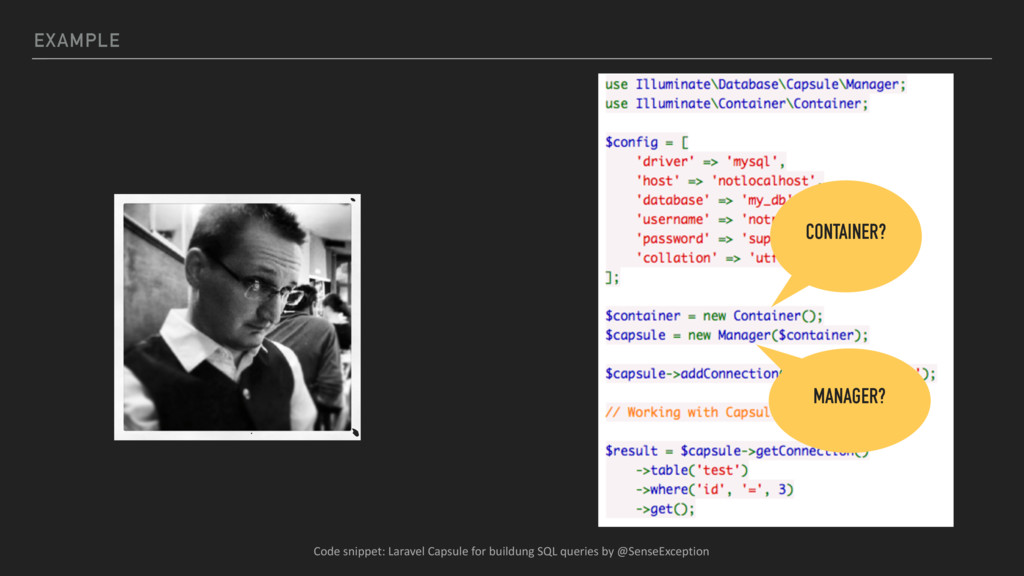 EXAMPLE CONTAINER? MANAGER? Code snippet: Larav...