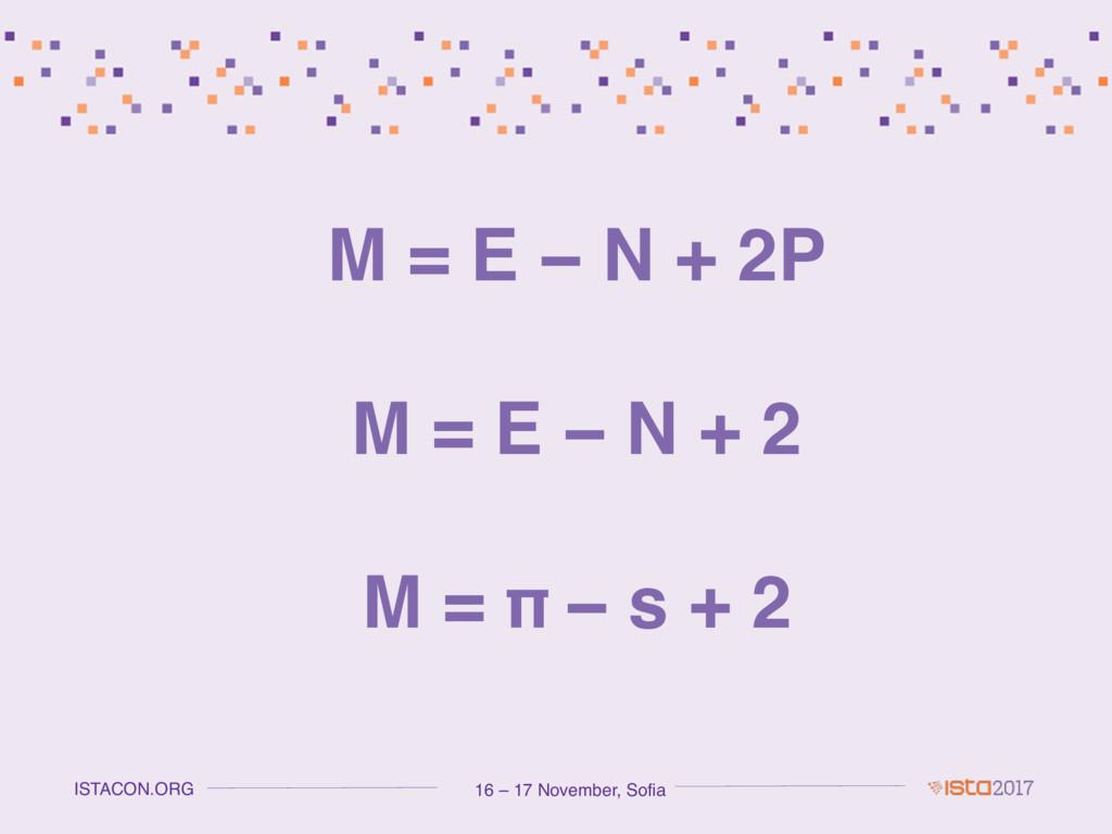 16 – 17 November, Sofia ISTACON.ORG M = E − N +...
