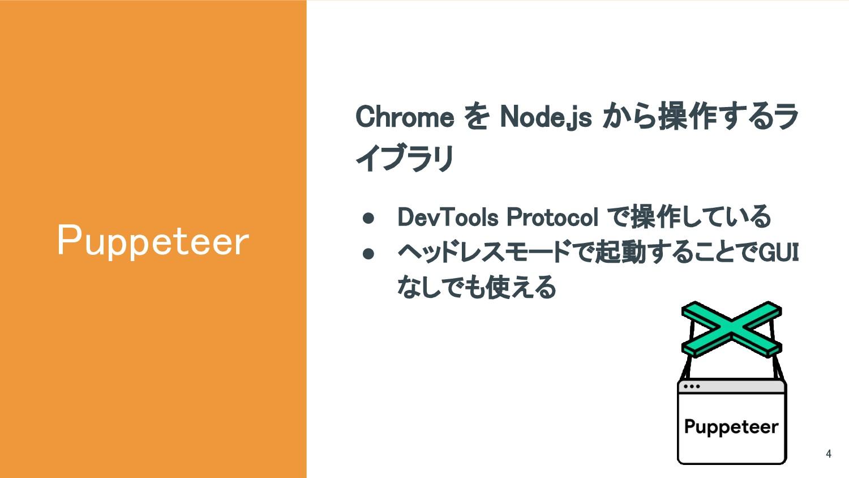 Puppeteer Chrome を Node.js から操作するラ イブラリ ● DevTo...