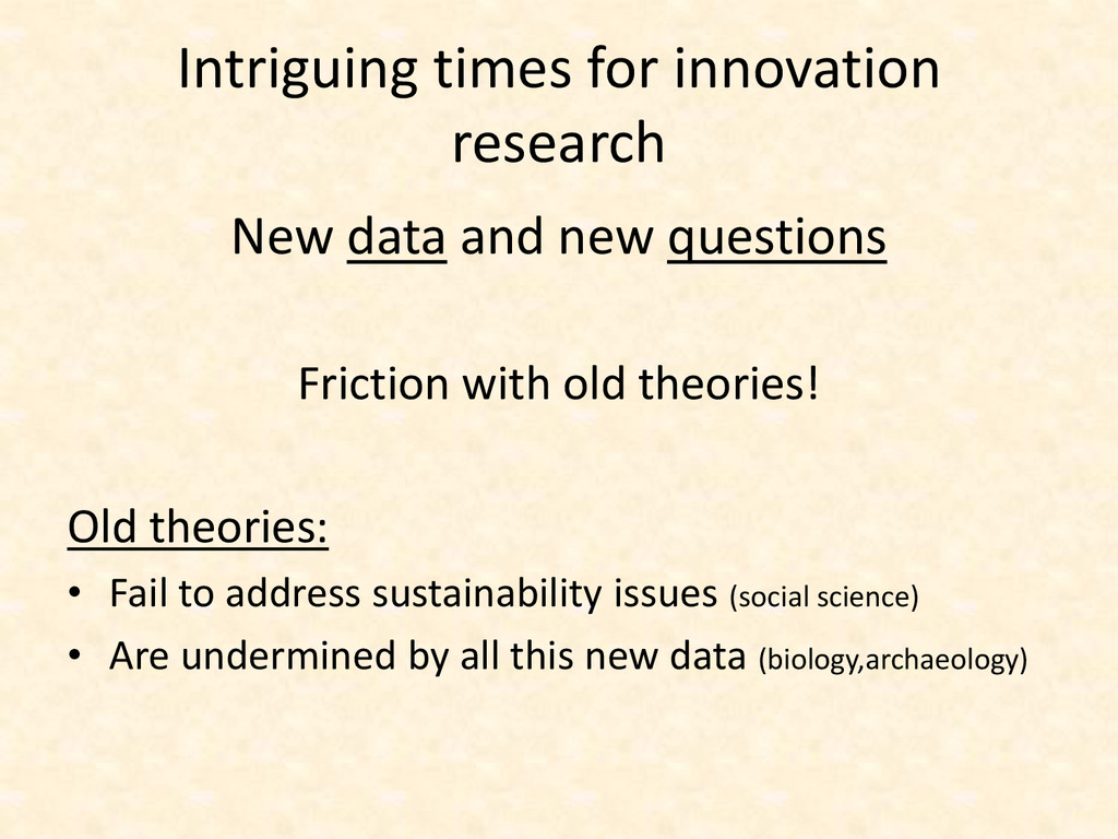 Intriguing times for innovation research New da...