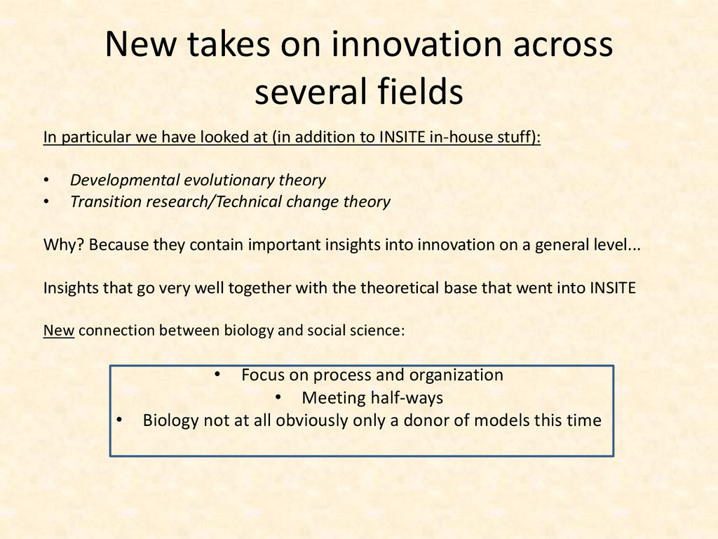 New takes on innovation across several fields I...