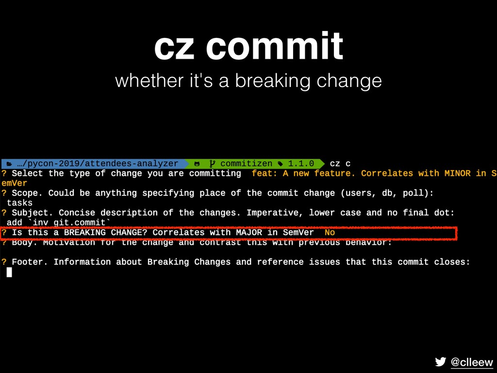 @clleew cz commit whether it's a breaking chan...