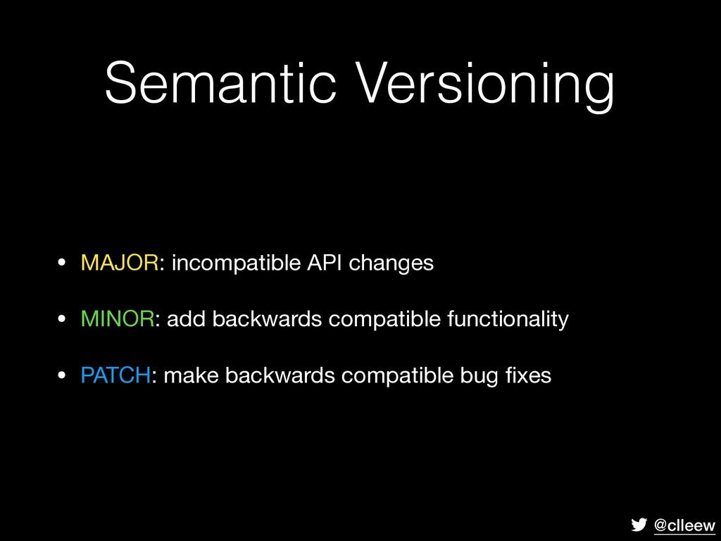 @clleew • MAJOR: incompatible API changes  • MI...
