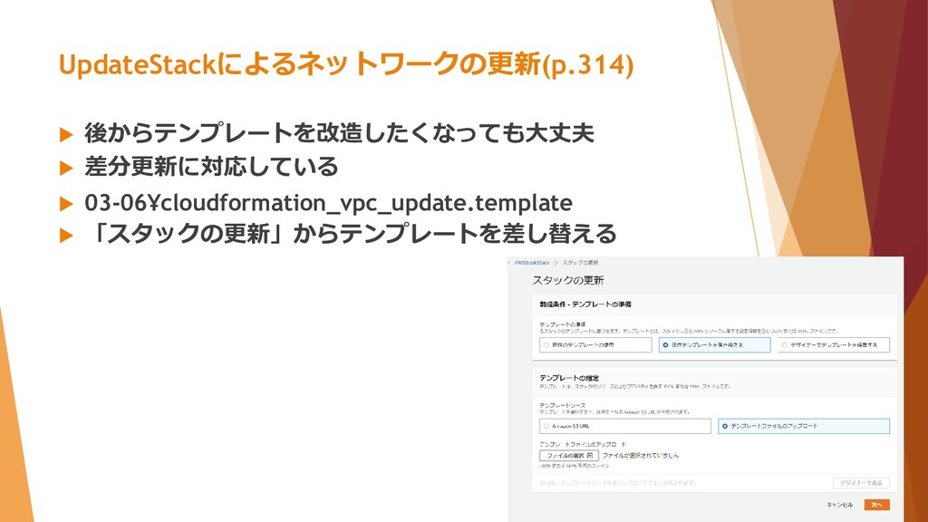 UpdateStackによるネットワークの更新(p.314)  後からテンプレートを改造した...