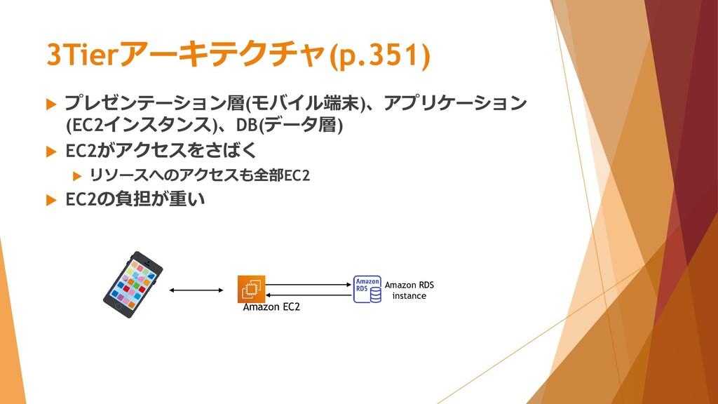 3Tierアーキテクチャ(p.351)  プレゼンテーション層(モバイル端末)、アプリケーシ...