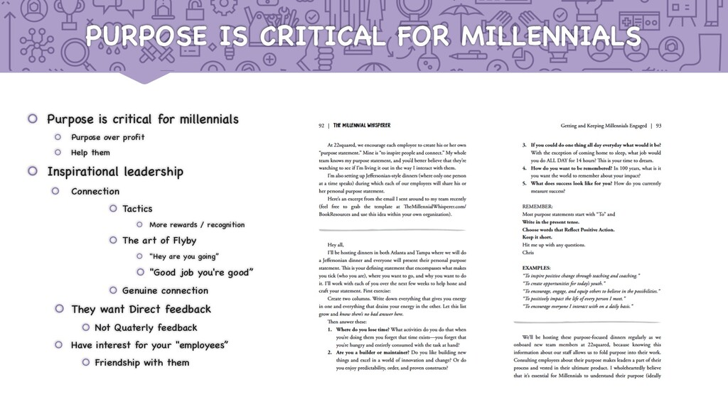 PURPOSE IS CRITICAL FOR MILLENNIALS š Purpose i...