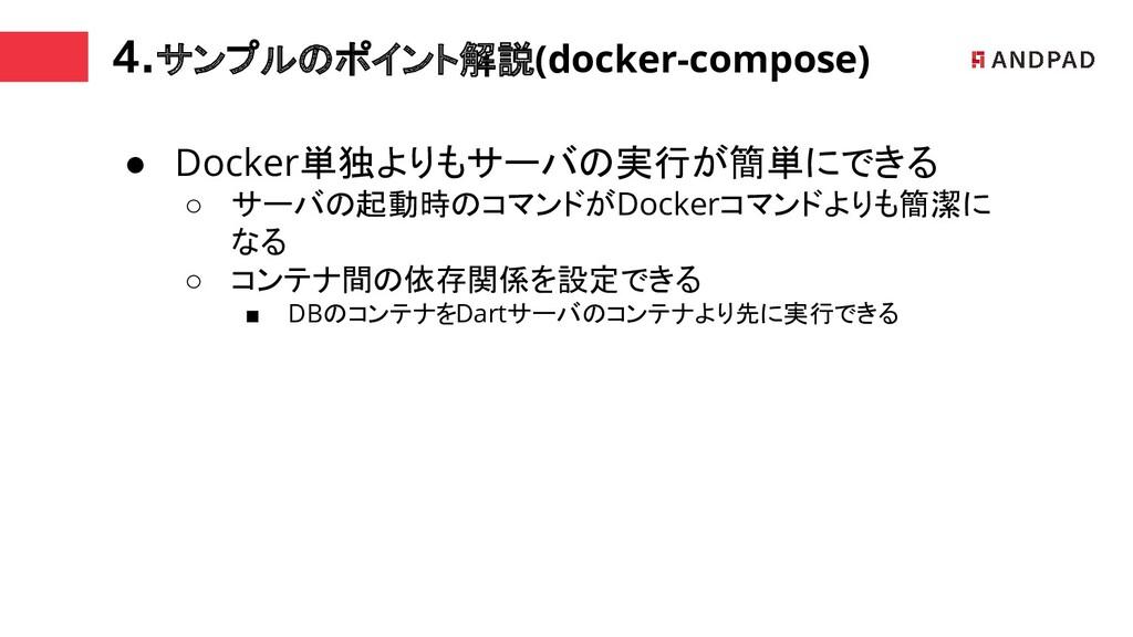 4.サンプルのポイント解説(docker-compose) ● Docker単独よりもサーバの...