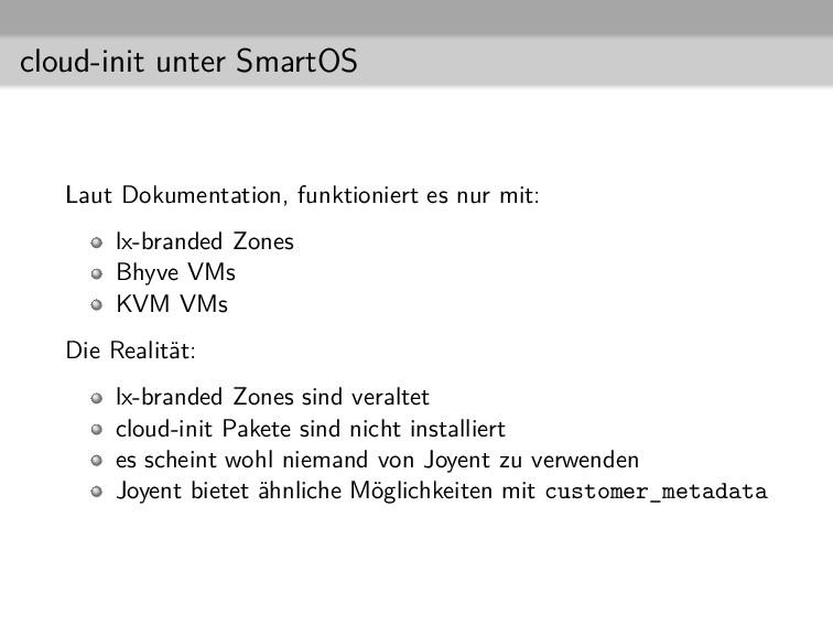 cloud-init unter SmartOS Laut Dokumentation, fu...
