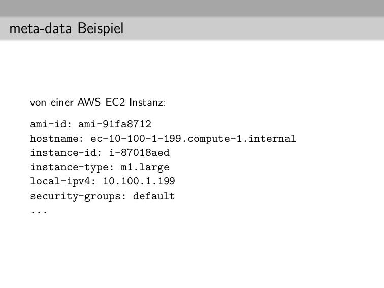 meta-data Beispiel von einer AWS EC2 Instanz: a...