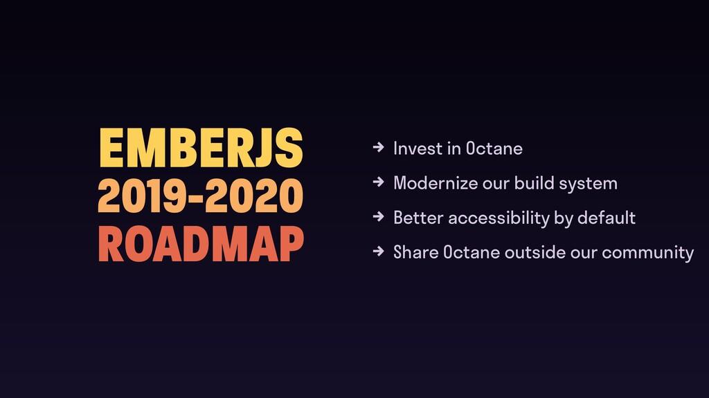 EMBERJS 2019-2020 ROADMAP Invest in Octane Mode...