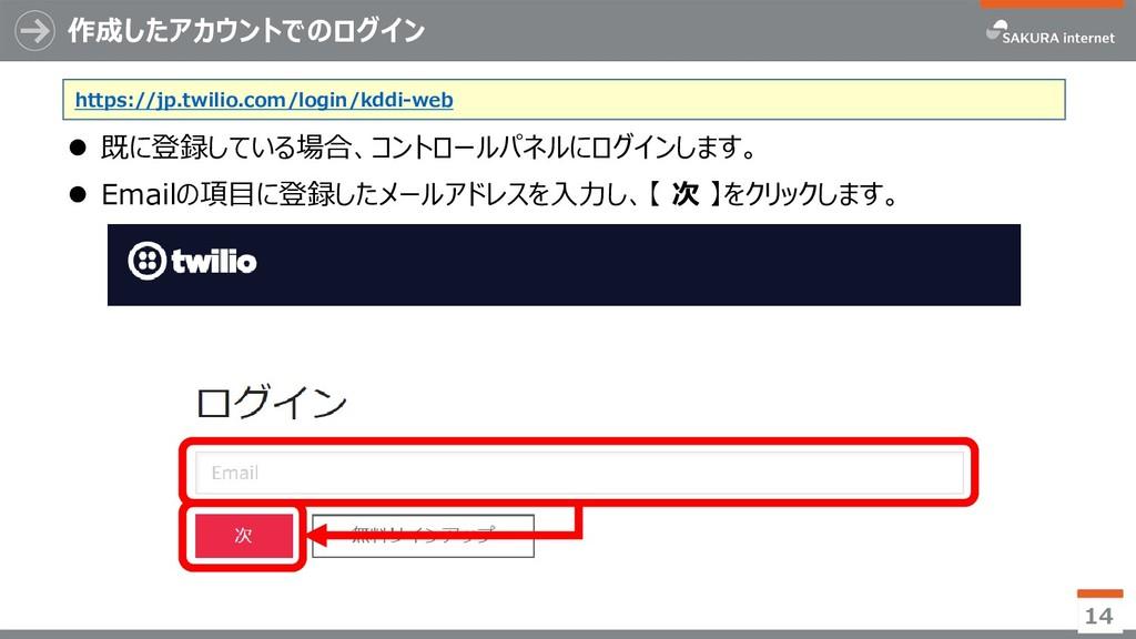 作成したアカウントでのログイン 14  既に登録している場合、コントロールパネルにログインし...