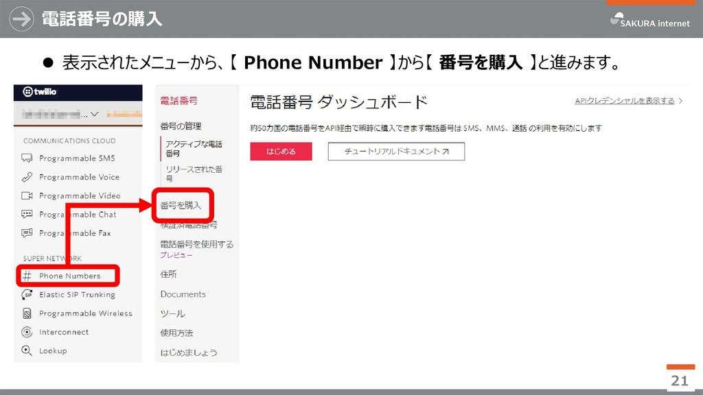 電話番号の購入 21  表示されたメニューから、【 Phone Number 】から【 番号...