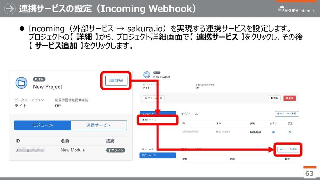 連携サービスの設定(Incoming Webhook)  Incoming(外部サービス →...