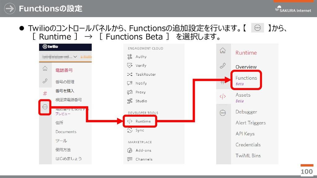 Functionsの設定 100  Twilioのコントロールパネルから、Functions...