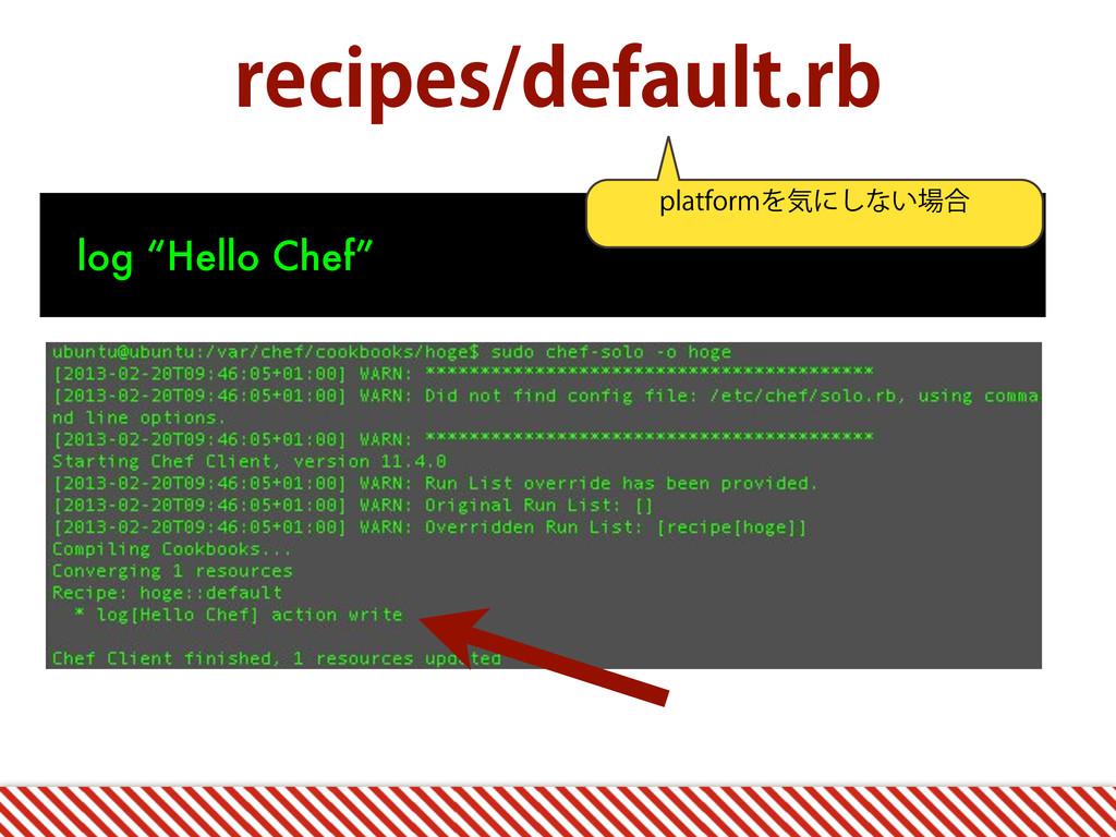 "SFDJQFTEFGBVMUSC log ""Hello Chef"" QMBUGPSNΛؾʹ..."