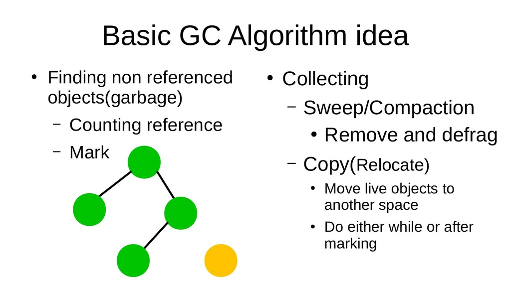Basic GC Algorithm idea ● Finding non reference...