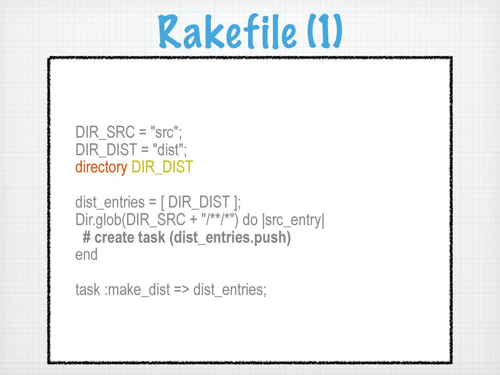 "Rakefile (1) DIR_SRC = ""src""; DIR_DIST = ""dist""..."