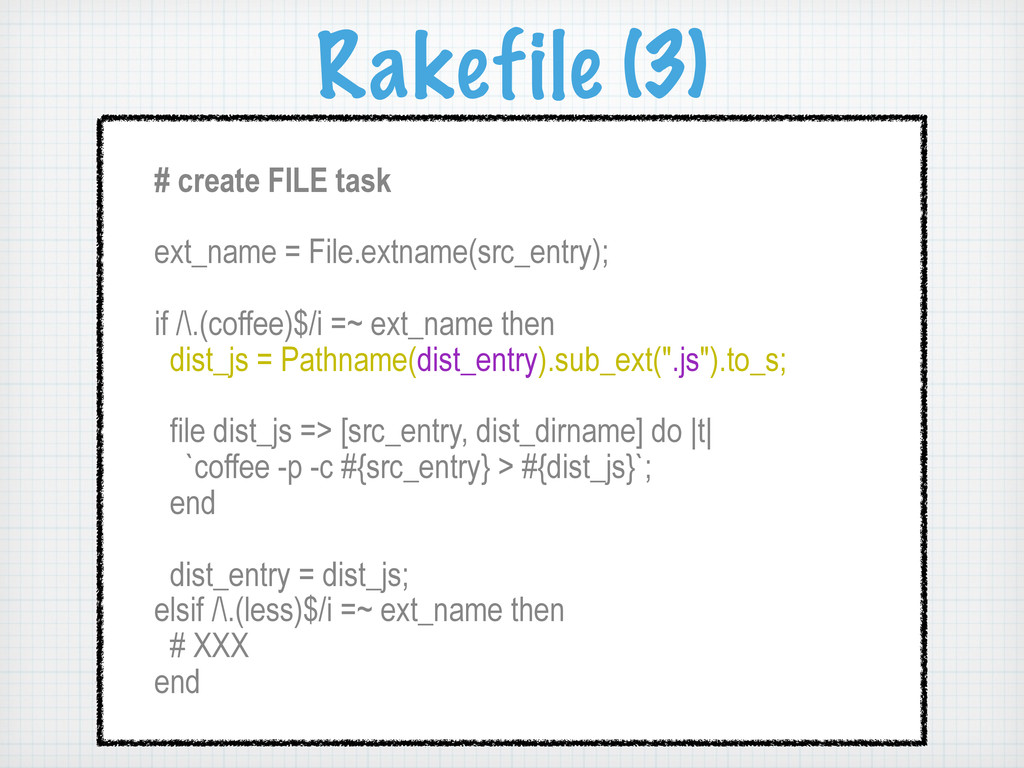 Rakefile (3) # create FILE task ext_name = File...
