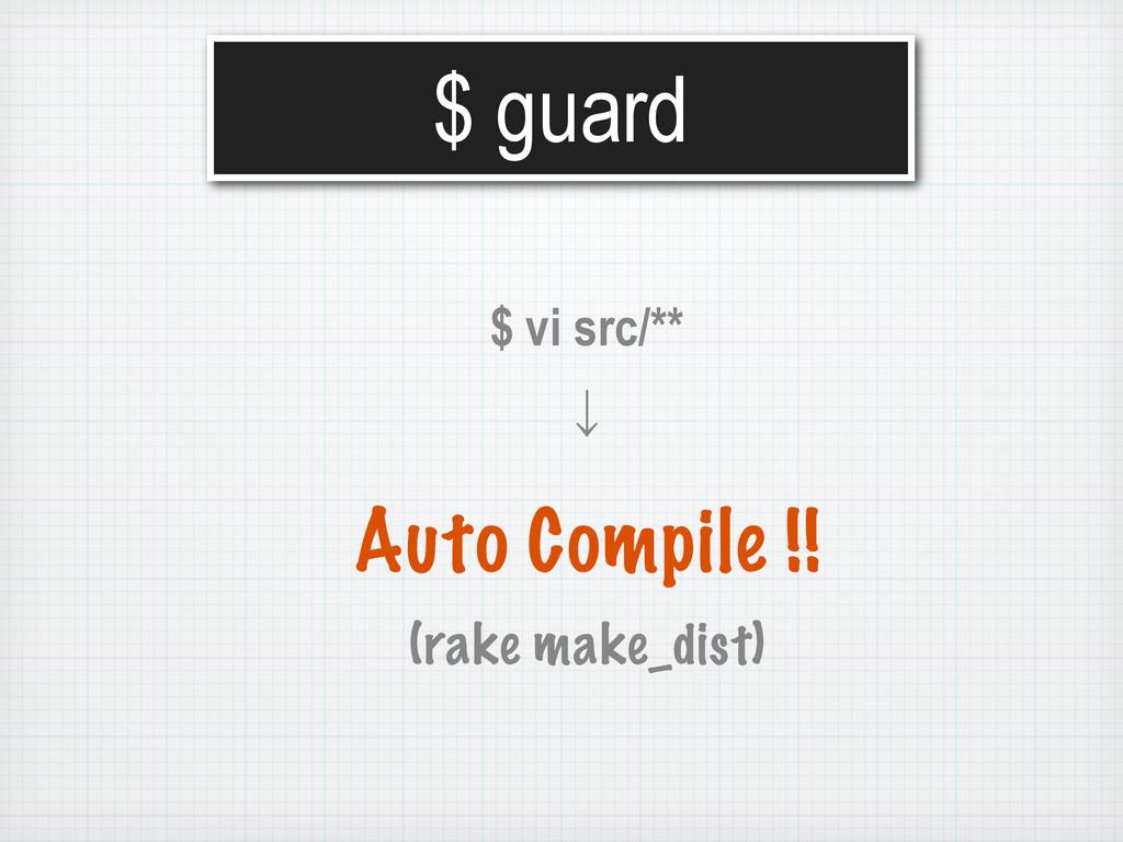 $ guard $ vi src/** ˣ Auto Compile !! (rake mak...