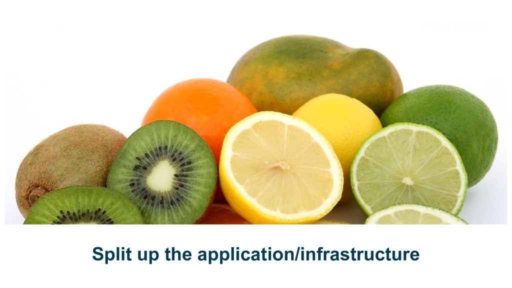 Split up the application/infrastructure