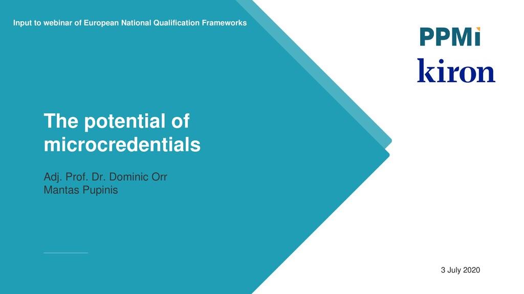 Input to webinar of European National Qualifica...