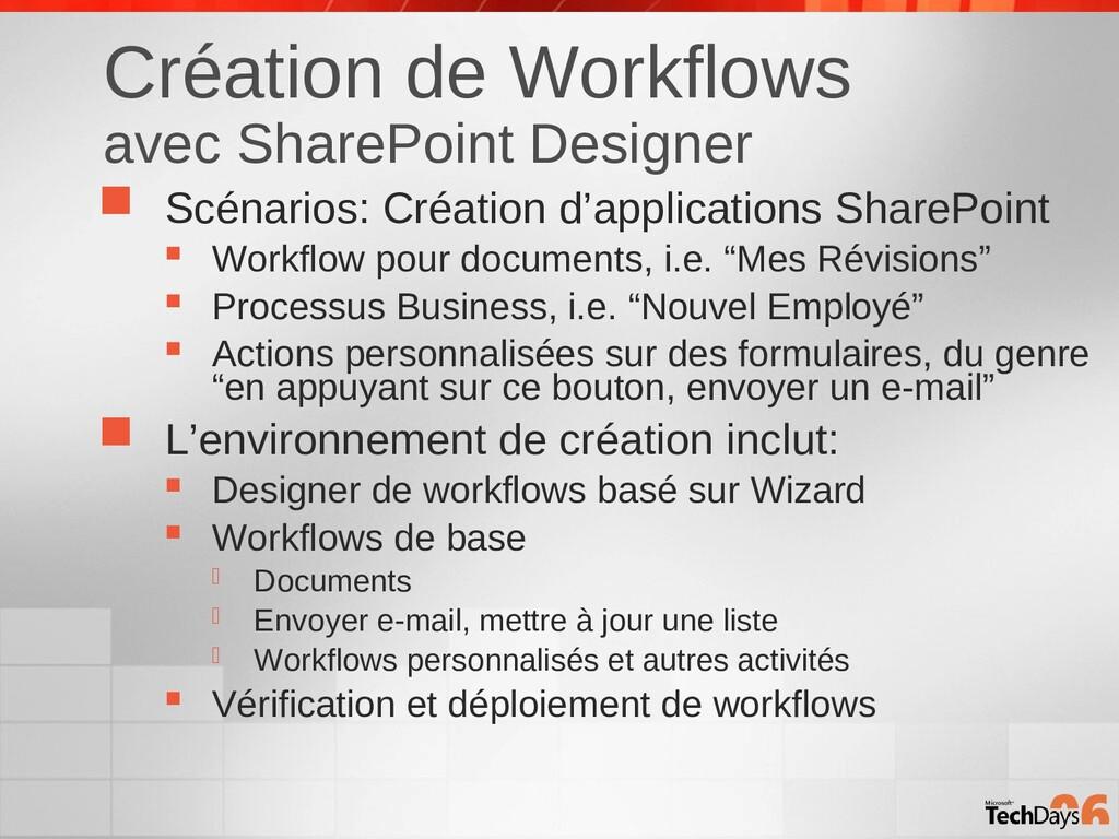 Création de Workflows avec SharePoint Designer ...