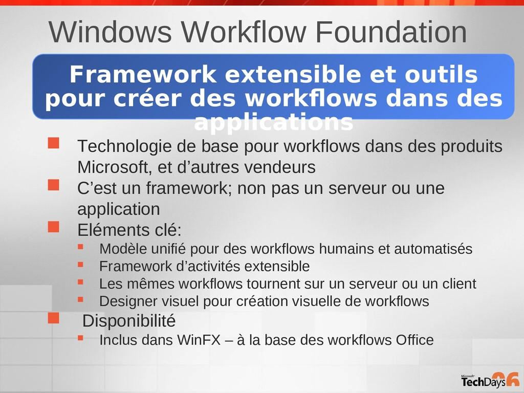 Windows Workflow Foundation  Technologie de ba...