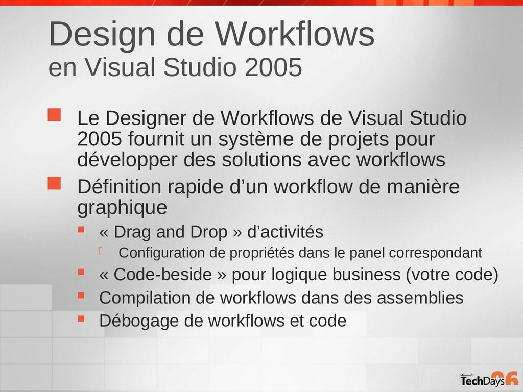 Design de Workflows en Visual Studio 2005  Le ...
