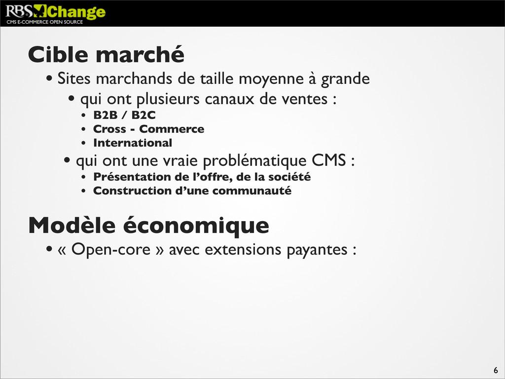CMS E-COMMERCE OPEN SOURCE 6 Cible marché • Sit...