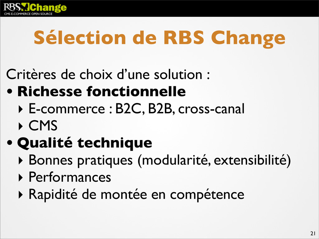 CMS E-COMMERCE OPEN SOURCE 21 Sélection de RBS ...