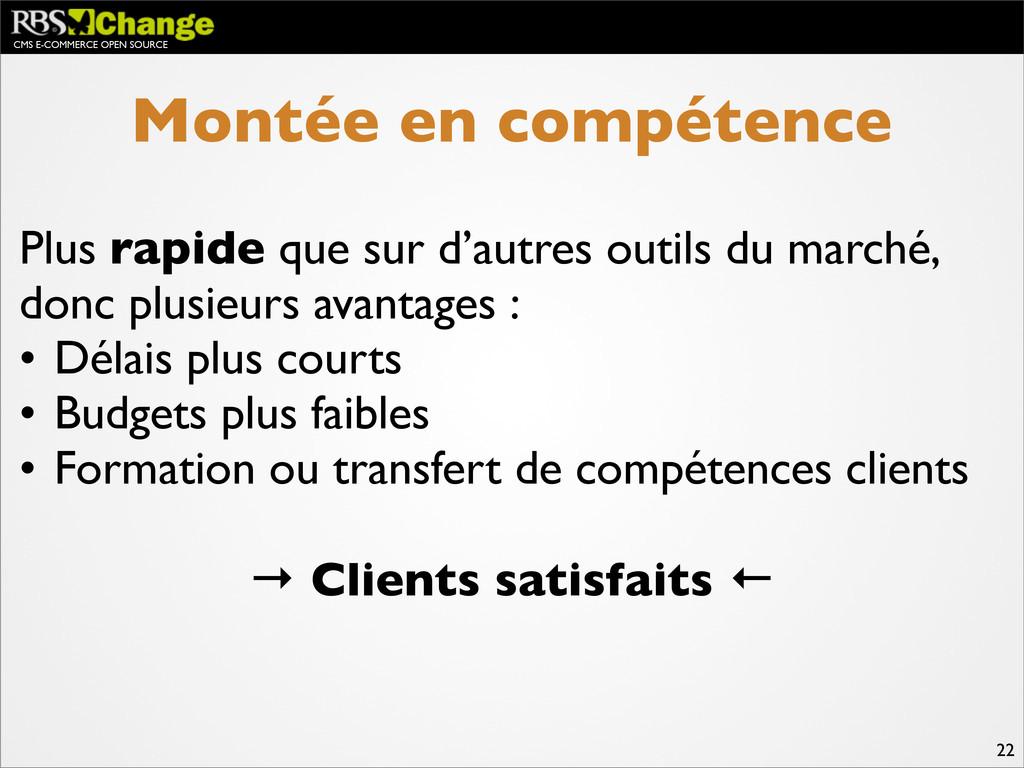 CMS E-COMMERCE OPEN SOURCE 22 Montée en compéte...