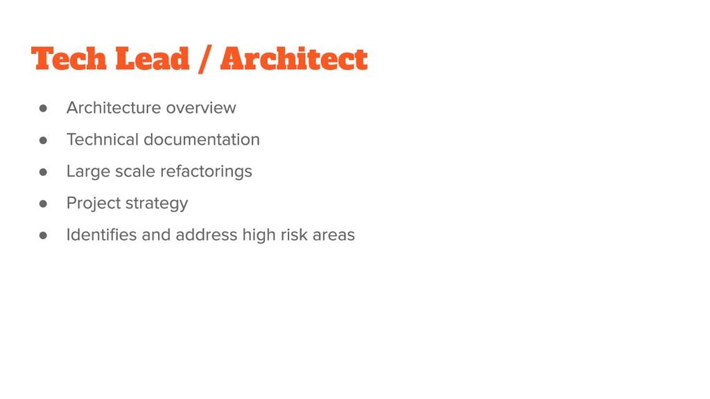 Tech Lead / Architect ● ● ● ● ●