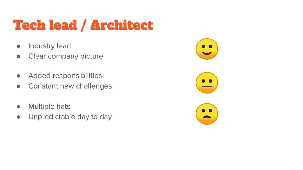 ● ●    ● ● ● ● Tech lead / Architect