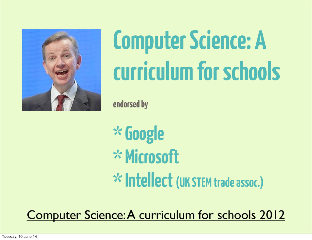 Computer Science: A curriculum for schools endo...