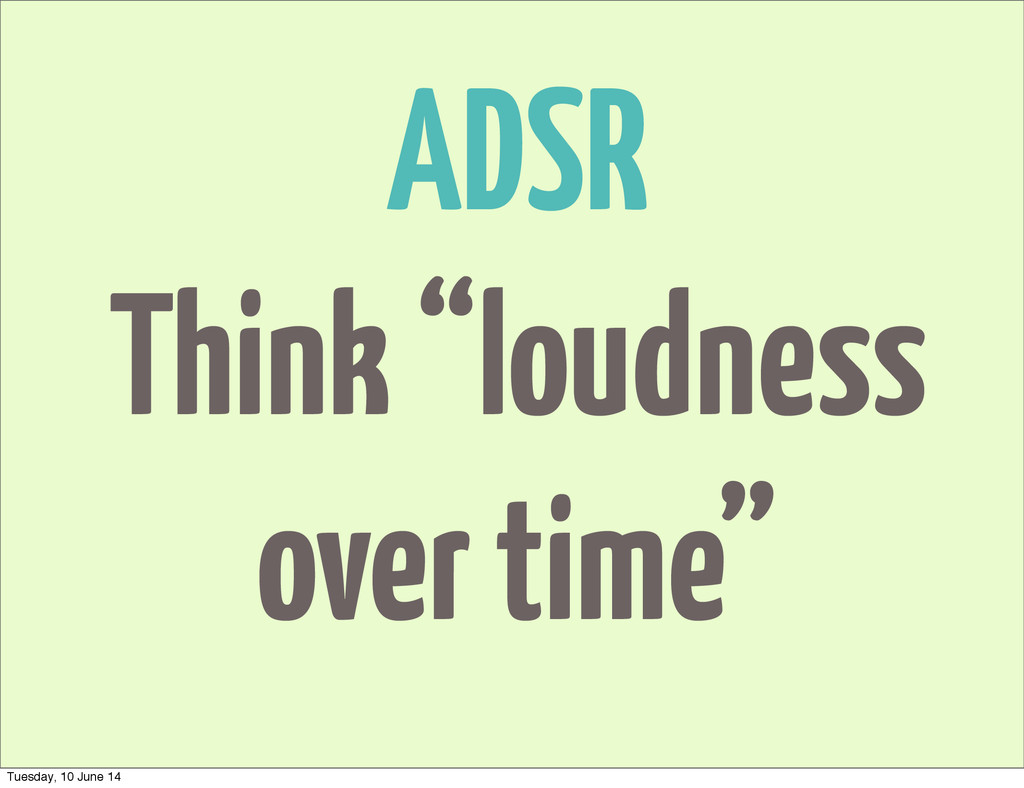 "ADSR Think ""loudness over time"" Tuesday, 10 Jun..."