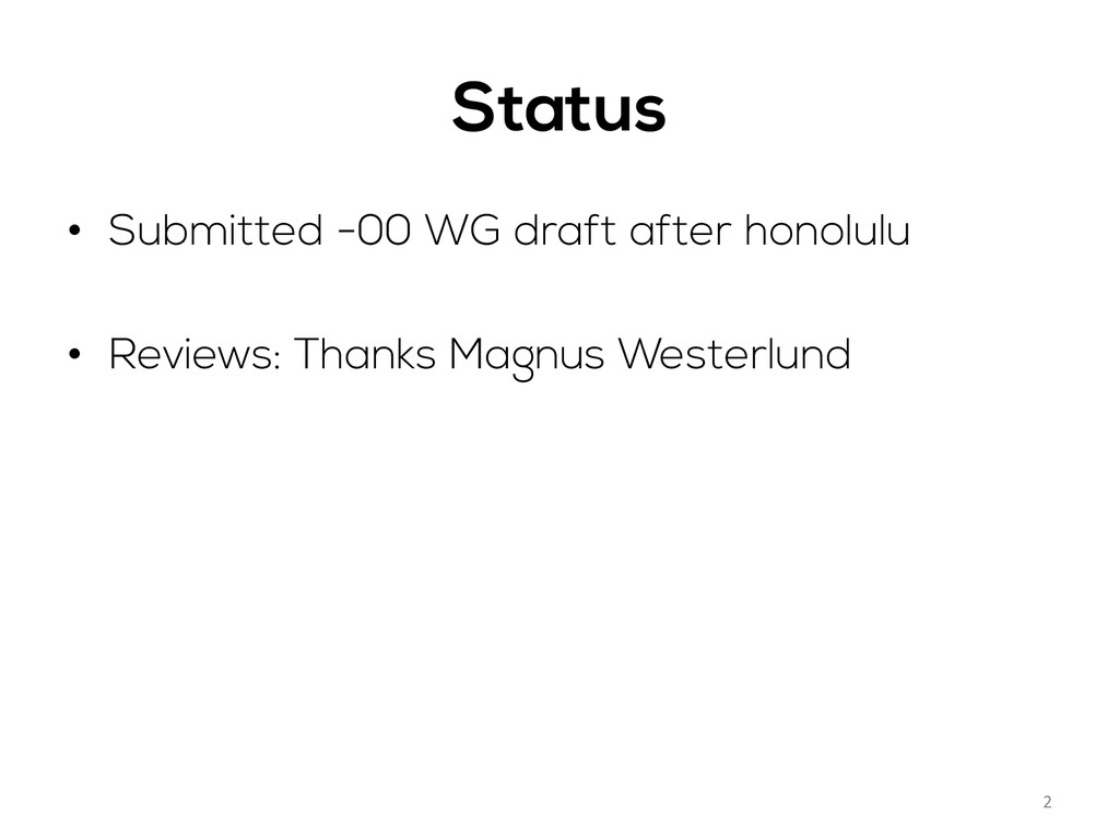 Status • Submitted -00 WG draft after honolulu...